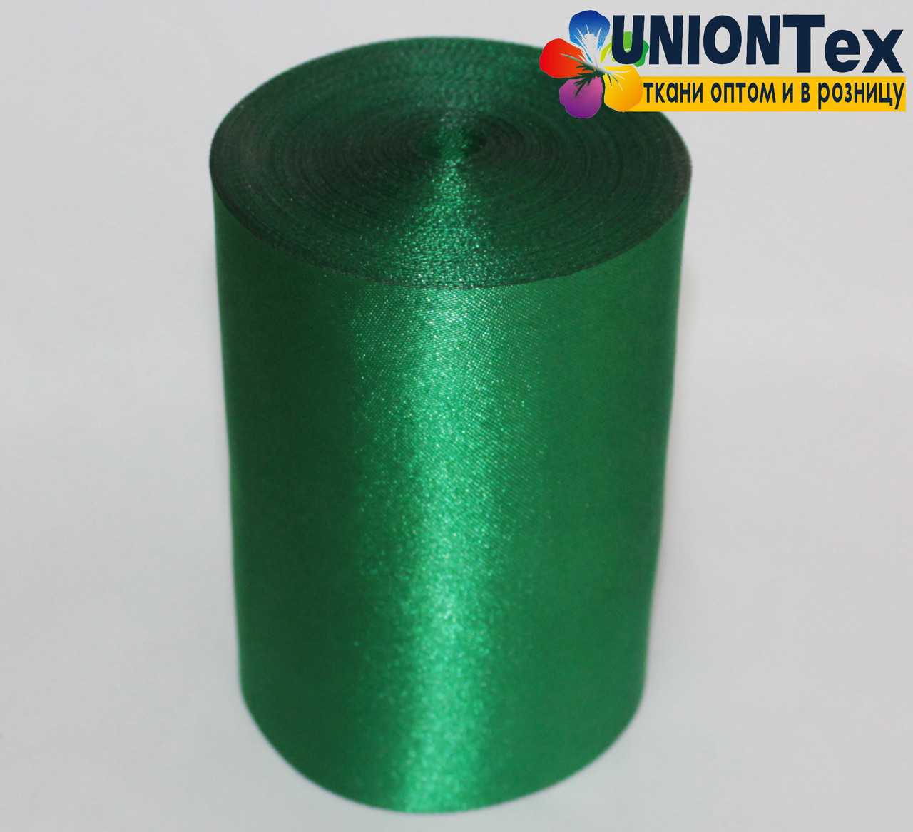 Лента атласная 10 см зеленая