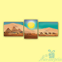 Модульная картина Караван в пустыне из 3 фрагментов