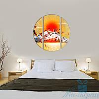 Модульная картина Триптих Сакура круглой формы, фото 1