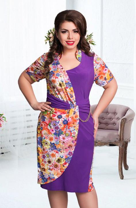 Яркие летние платья-баталы 52-56