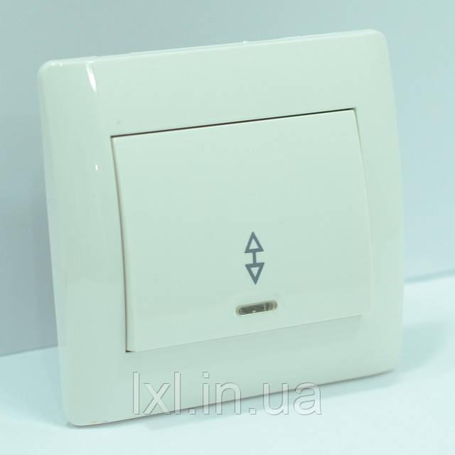 Выключатель проходной с подсветкой белая OSCAR
