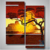 Модульная картина с африканской тематикой Солнце над долиной из 2 фрагментов