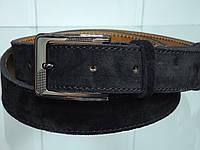 Стильный мужской кожаный замшевый ремень классический черный