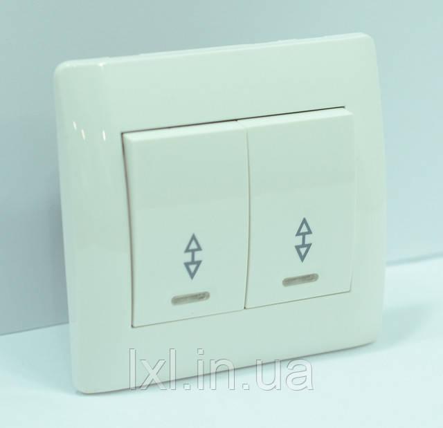 Выключатель проходной двойной с подсветкой белая OSCAR
