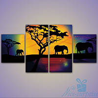 Модульная картина Три слона из 4 фрагментов, фото 1