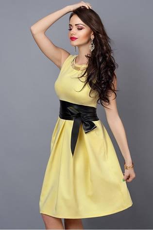 Летнее платье желтое с кожаным поясом, фото 2