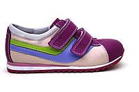 Кроссовки кожаные для девочки на липучке ТМ FS collection. Размер 20-30