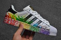Кроссовки Adidas Superstar Rainbow Paint Splatte. Живое фото. Топ качество (адидас суперстар)