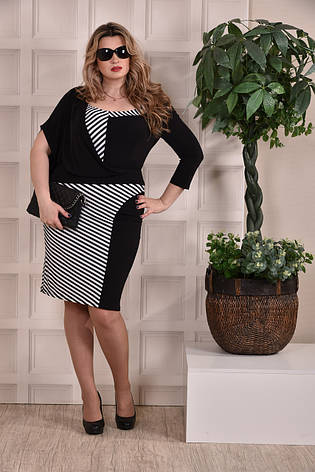 Платье больших 60+ размеров 0235 полоска, фото 2