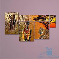 Модульная картина Дикая Африка из 5 модулей