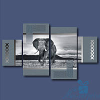 Модульная картина Африканский слон из 4 фрагментов, фото 1