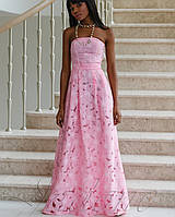 Длинное платье с открытыми плечами | Пике jd