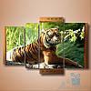 Модульная картина Тигр из 4 модулей (179х120)