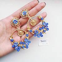 Серьги D&G  Flora голубые, сережки женские
