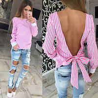 Стильная блуза, спинка открыта - бант. Расцветки