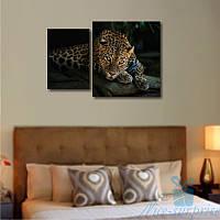 Модульная картина Леопард из 2 фрагментов