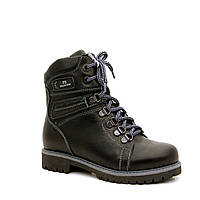 Зимние ботинки для мальчика из черной гладкой кожи ТМ FS collection. Размер 32-39