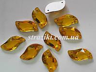 Лист topaz 9мм*20мм   (Пришивные камни стекло  2 отверстия)