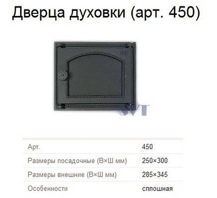 Печная дверца духовки сплошная SVT 450, фото 2