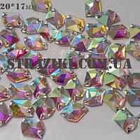 20*17мм crystal_AB космос с/с 1шт (пришивные камни идентичны)