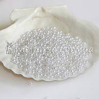 Бусины перламутровые под жемчуг, белые,  3 мм (5 грамм)