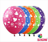 "Воздушные шарики сердечки и спиральки 12"" (30 см)  ТМ Show"