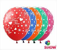 """Воздушные шарики Сердца и звезды 12"""" (30 см)  ТМ Show"""