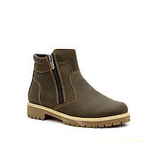 Ботинки кожаные, коричневые для мальчика на молнии ТМ FS collectuin. Размер 32-39