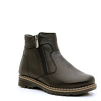 Ботинки кожаные, черные для мальчика на молнии. Размер 32-39