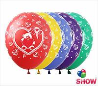 """Воздушные шарики Мишка с сердцем 12"""" (30 см)  ТМ Show"""
