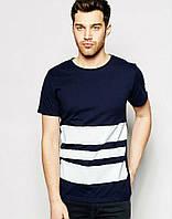 Стильная мужская футболка синяя с полосами