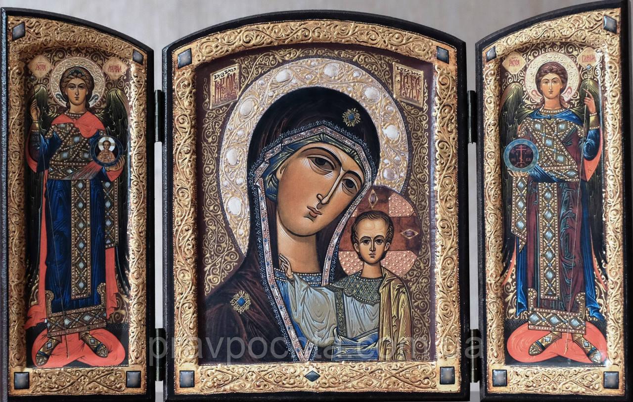 Складень Божия Матерь «Казанская» с Архангелами