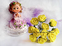 Розы из латекса желтого цвета на стебле диаметр 1-1.5см упаковка 12 штук