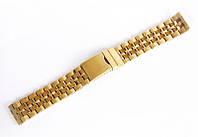 Браслет стальной Nobrand для наручных часов, замок с фиксатором, золотой, 20 мм