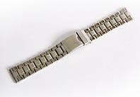 Браслет стальной Nobrand для наручных часов, замок с фиксатором, серебряный, 20 мм