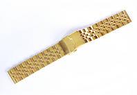 Браслет стальний Nobrand для наручних годинників, замок з фіксатором, золотий, 20 мм