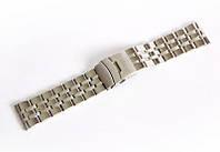 Браслет стальний Nobrand для наручних годинників, замок з фіксатором, срібний, 24 мм