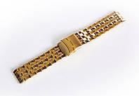 Браслет стальний Nobrand для наручних годинників, подвійний замок з фіксатором, золотий, 20 мм