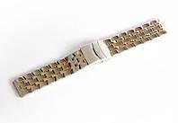 Браслет стальной Nobrand для наручных часов, двойной замок с фиксатором, комбинированный, 20 мм