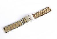 Браслет стальной Nobrand для наручных часов, двойной замок с фиксатором, комбинированный, 22 мм