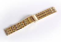 Браслет стальной Nobrand для наручных часов, двойной замок с фиксатором, золотой, 22 мм