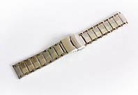 Браслет стальний Nobrand для наручних годинників, подвійний замок з фіксатором, срібний, 22 мм