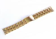 Браслет стальной Nobrand для наручных часов, двойной замок с фиксатором, золотой, 24 мм