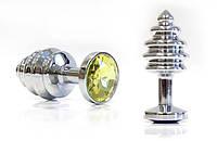Втулка серебряная цвет кристалла жёлтый (маленькая)