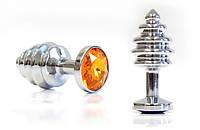 Втулка серебряная цвет кристалла оранжевый (маленькая)