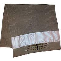 Полотенце махровое с атласной вставкой для сублимации Кофейное