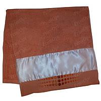 Полотенце махровое с атласной вставкой для сублимации Персиковое