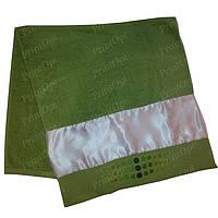 Полотенце махровое с атласной вставкой для сублимации Салатовое
