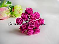 Розы из латекса цвет фуксия на стебле диаметр 2-2.5 см упаковка 12 штук
