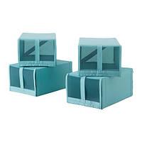 СКУББ Коробка для обуви, голубой 22x34x16 см